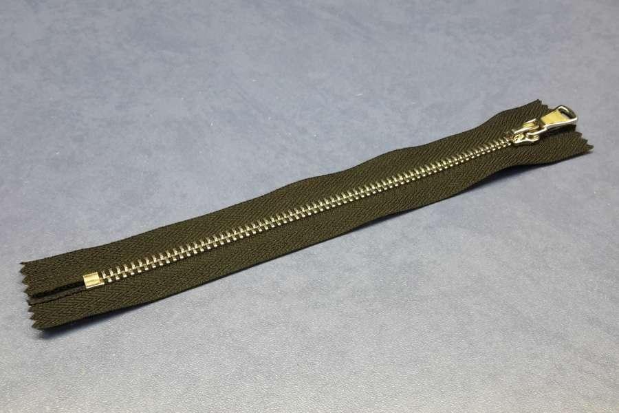 Молния металл неразъемная, никель, шлифовка, черный цвет, 18 см.