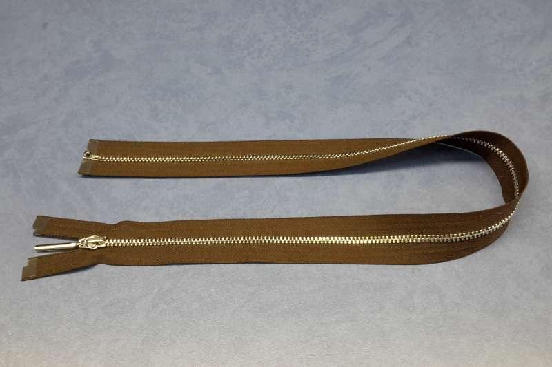 Молния металл разъемная, никель, шлифовка, коричневый цвет, 55 см