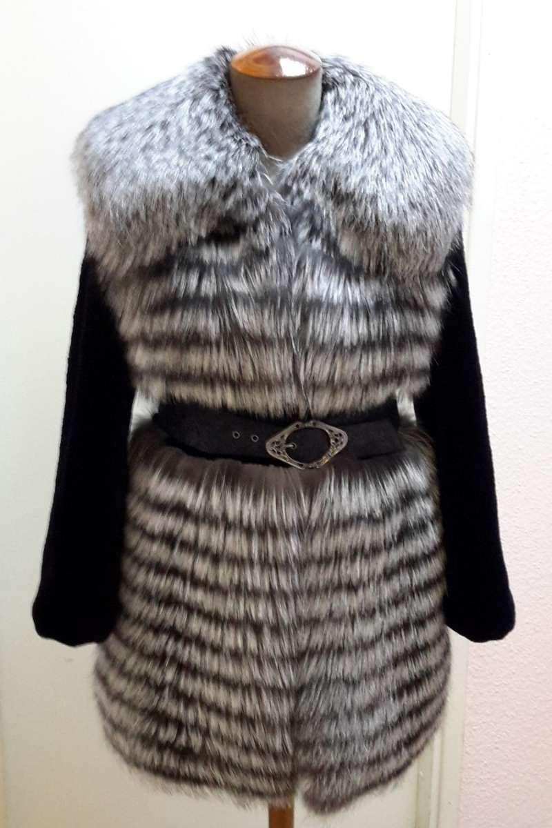Пальто из лисицы серебристо-черной, росшив