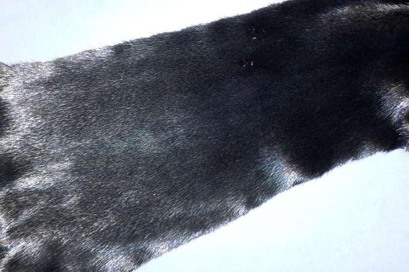 Норка с металлизацией Черная норка с напылением под синий металл
